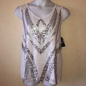 INC white silver sequins TOP- 1X NEW!
